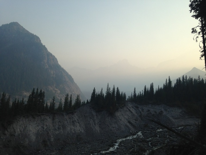Last view of the White River valley with the Mountain barely visible through the haze from the wildfires.