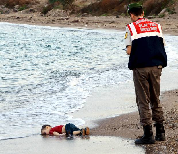 Aylan Kurdi, 3 year old Syrian refugee, washed ashore in Turkey after his family's boat capsized.