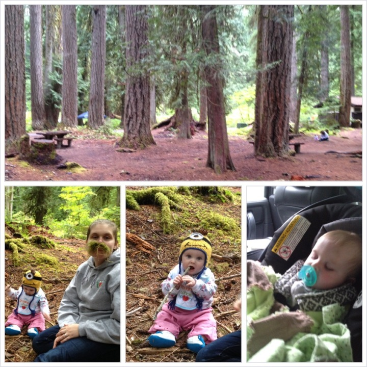 We managed to find a dry spot under a tree! Evie spent a happy 45 minutes eating sticks and pinecones. Mommy grew a mustache.