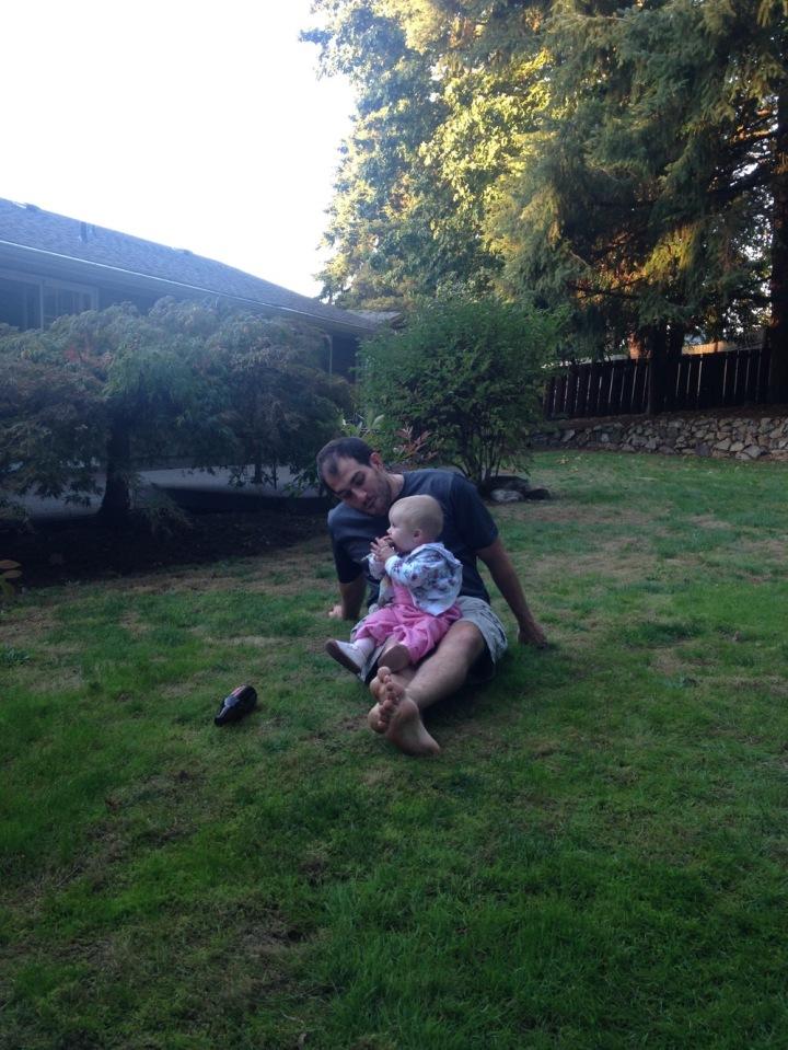 Uncle Adam! Teaching Evie to drink beer and eat rocks!