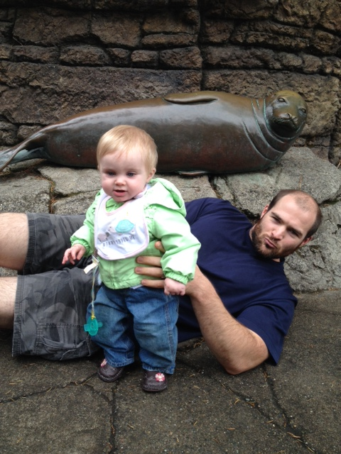 Evie didn't want to play seal, she wanted to move, so Daddy had to play seal by himself.