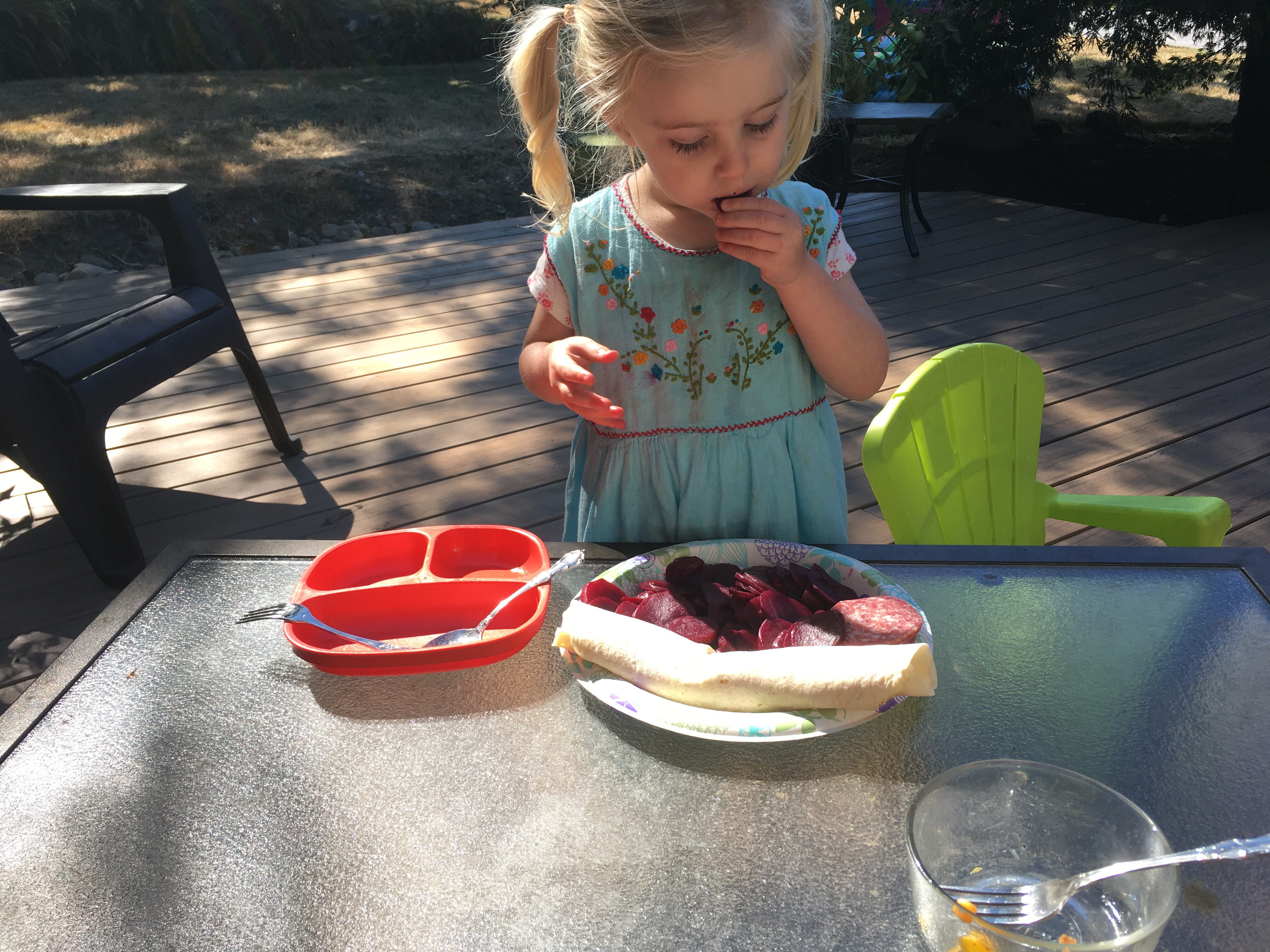 Evie loves beets