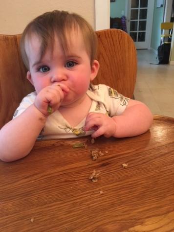 Ellie enjoyed the meatloaf.